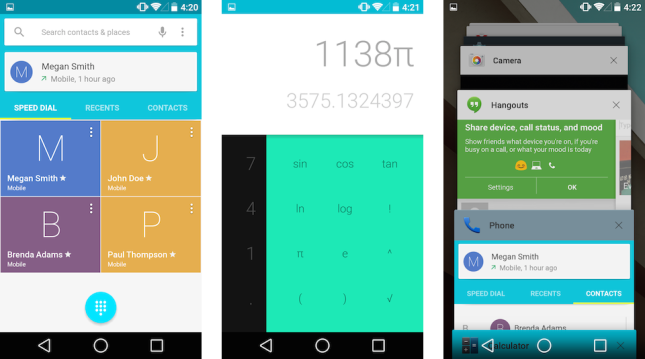 Android L Telefon, Hesap Makinesi ve App Switcher