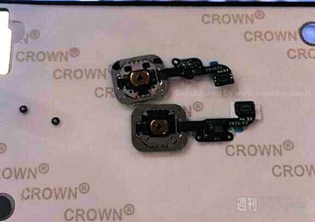 iPhone 5s parmak izi sensörü (üstte) ve iPhone 6 sensörü (altta)