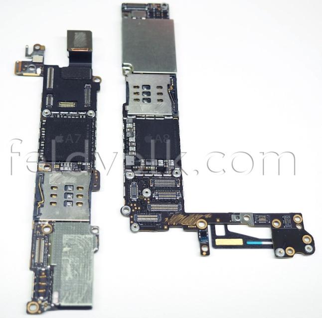 iPhone 5S anakartı (solda) ve iPhone 6 anakartı (sağda)